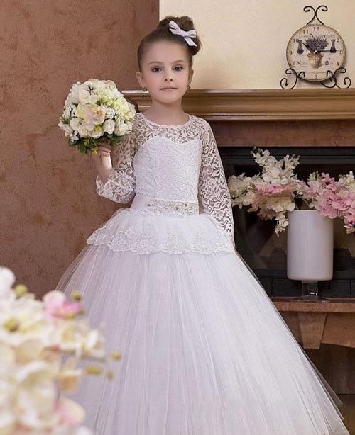 لباس عروس بچه گانه آستین دانتل