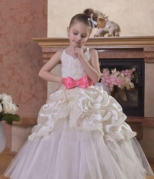 لباس عروس بچه گانه پف دار صدفی