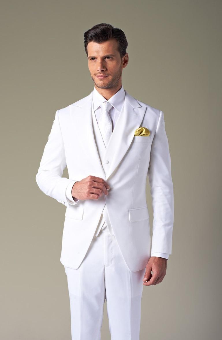 کت و شلوار و جلیقه و کراوات سفید