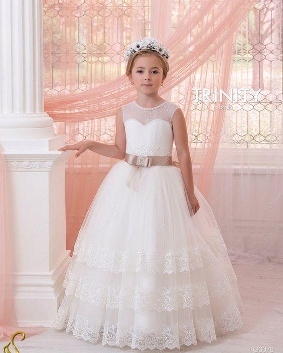 لباس عروس بچه گانه پرنسسی با تاج گل