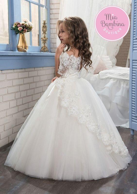 لباس عروس بچه گانه آستین سه ربع