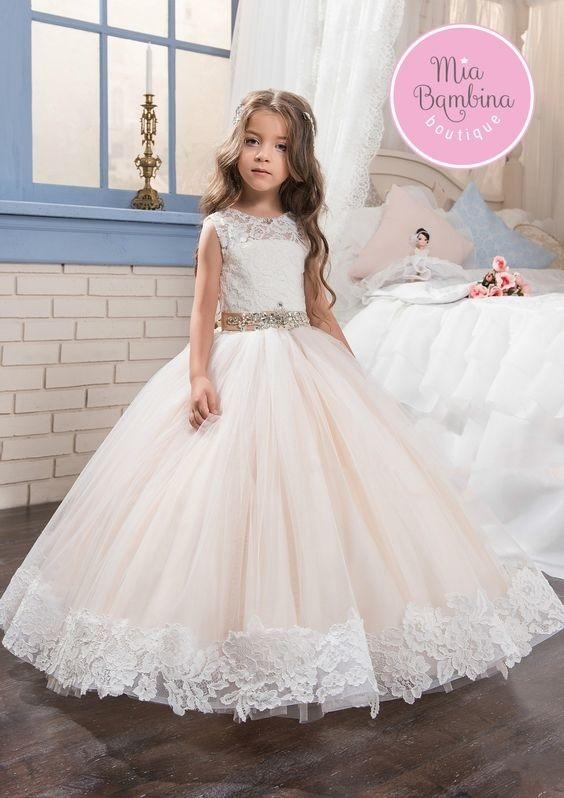 لباس عروس بچه گانه با کمر نقره ای