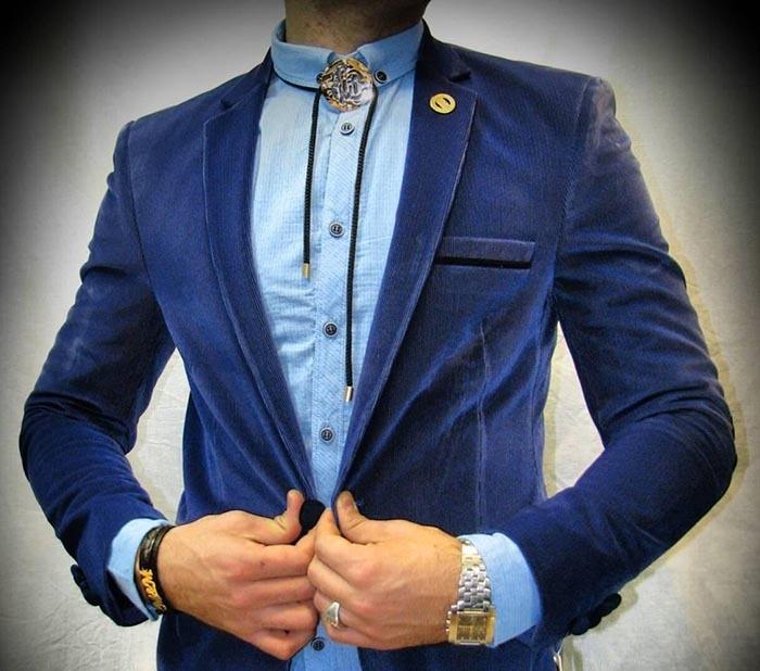 کت و شلوار مردانه آبی کاربنی