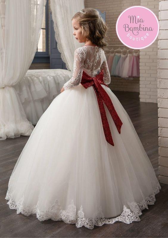 لباس عروس بچه گانه پرنسسی با کمربند قرمز