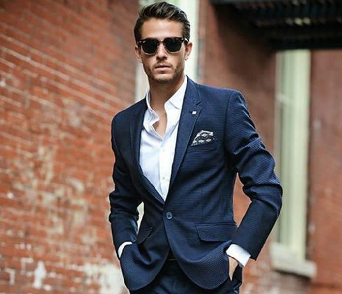 کت و شلوار مردانه آبی کاربنی تک دکمه