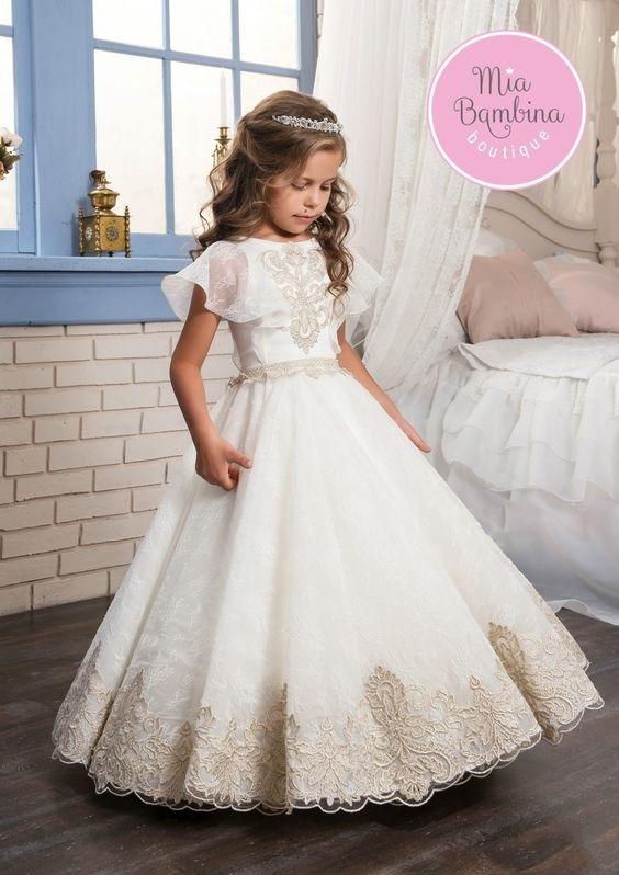لباس عروس بچه گانه آستین حلزونی