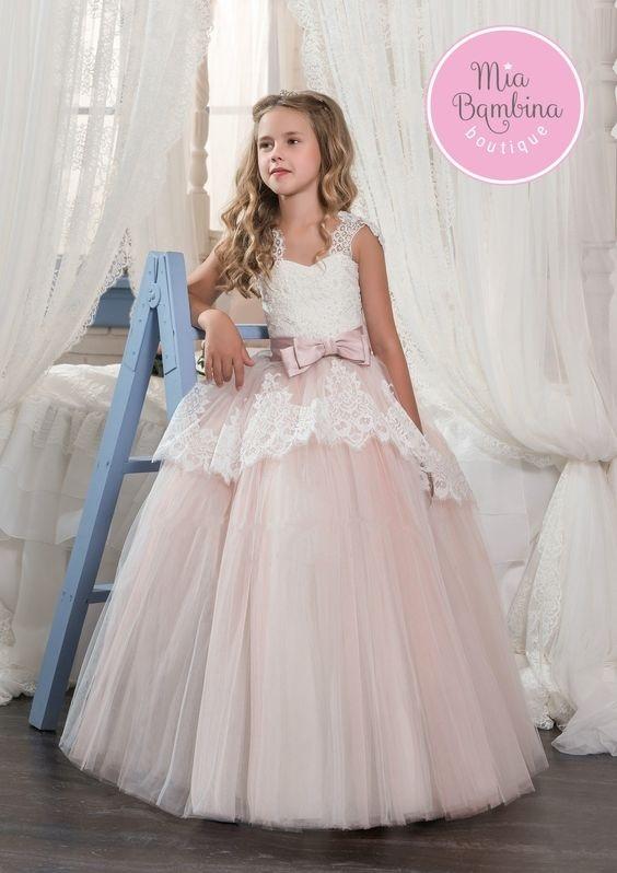 لباس عروس بچه گانه با پف دانتل