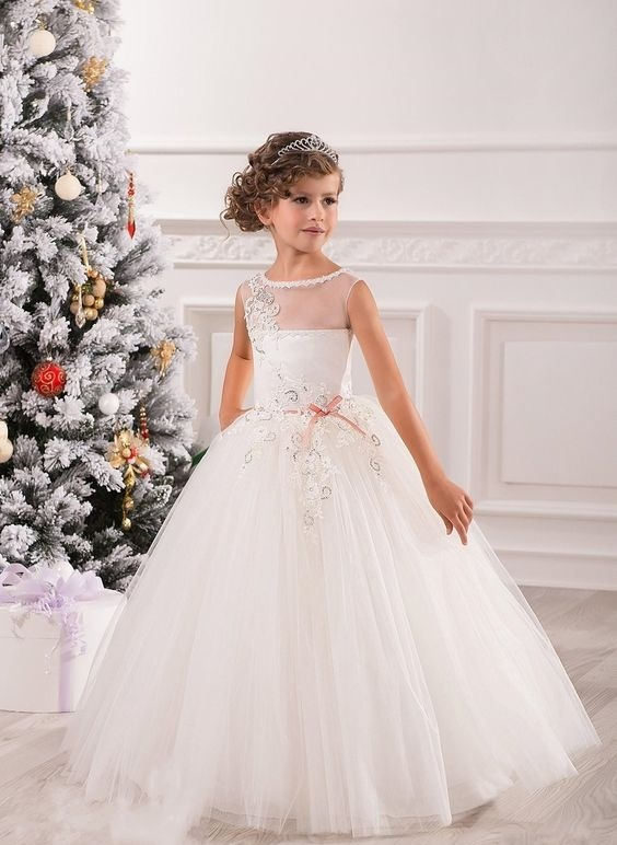 لباس عروس بچه گانه آستین حلقه ای