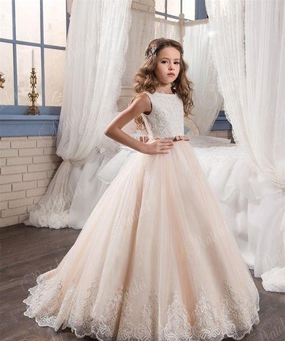 لباس عروس بچه گانه پرنسسی با دامن کرم