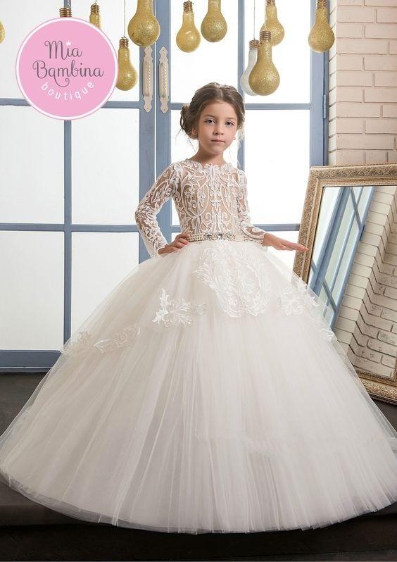 لباس عروس بچه گانه پرنسسی دامن پفی