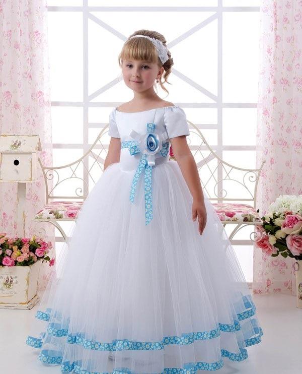 لباس عروسی بچه گانه گل آبی