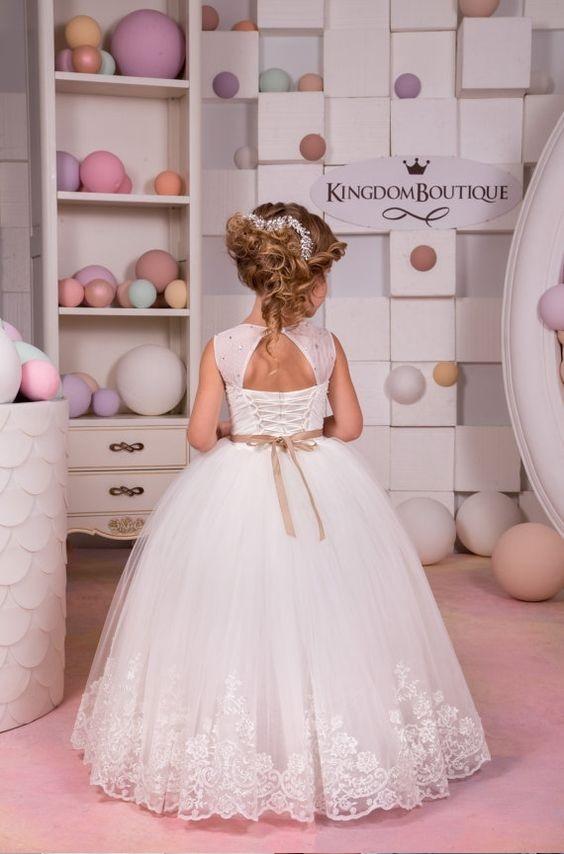 لباس عروس بچه گانه با کمربند کرم