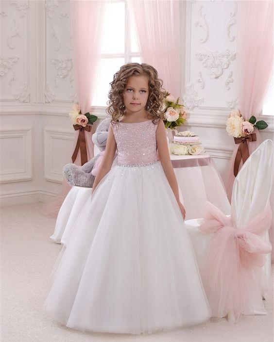 لباس عروس بچه گانه با بالا تنه صورتی