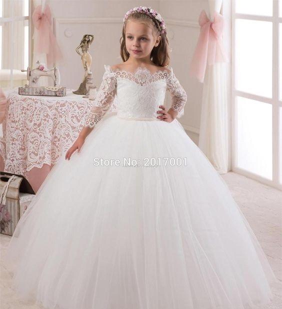 لباس عروس بچه گانه یقه قایقی