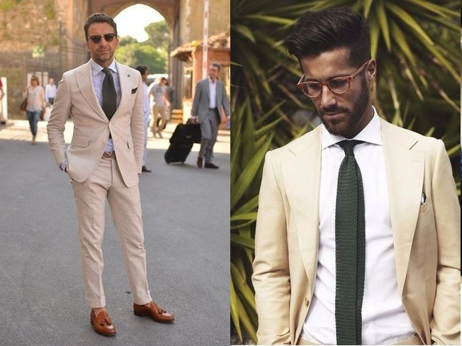 کت و شلوار بژ با پیراهن مردان سفید و کفش قهوه ای عسلی