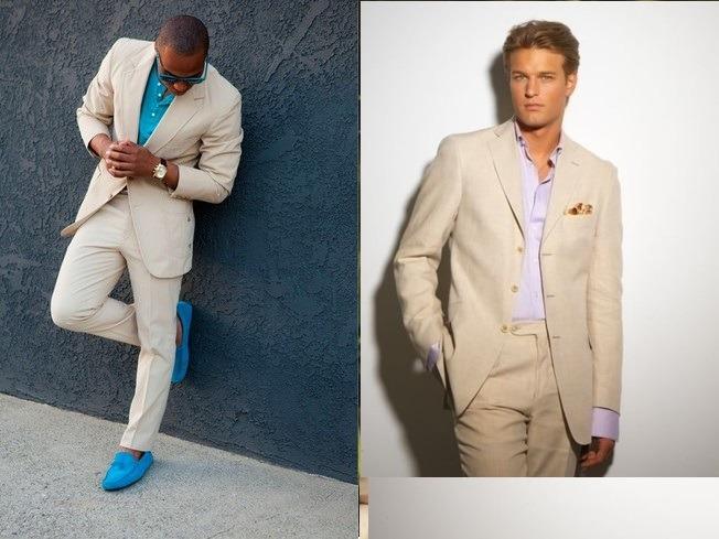 پیراهن و کفش همرنگ آبی با کت و شلوار تک دکمه بژ