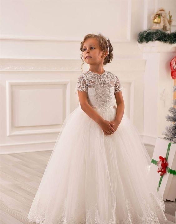 لباس عروس بچه گانه آستین کوتاه