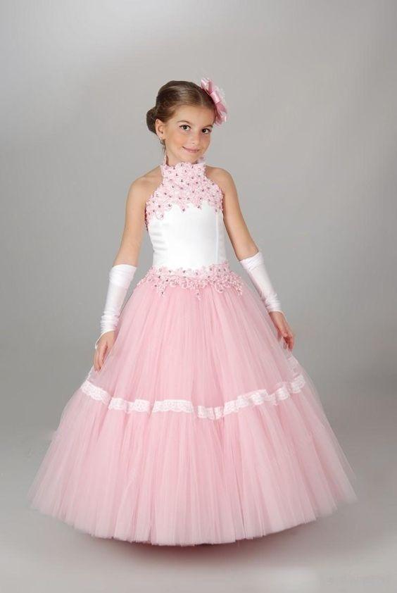 لباس عروس بچه گانه صورتی با دستکش