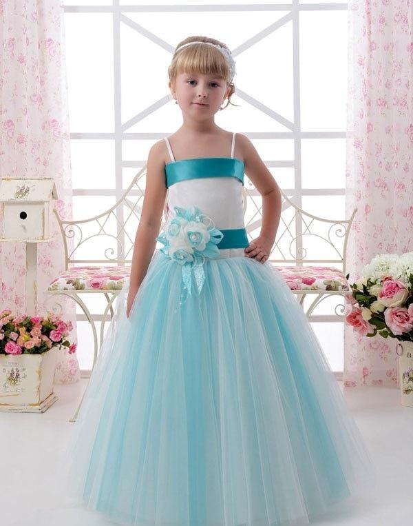 لباس عروسی بچه گانه فیروزه ای