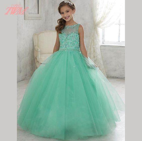 لباس عروس بچه گانه سبز
