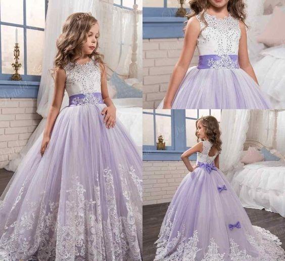 لباس عروس بچه گانه بنفش