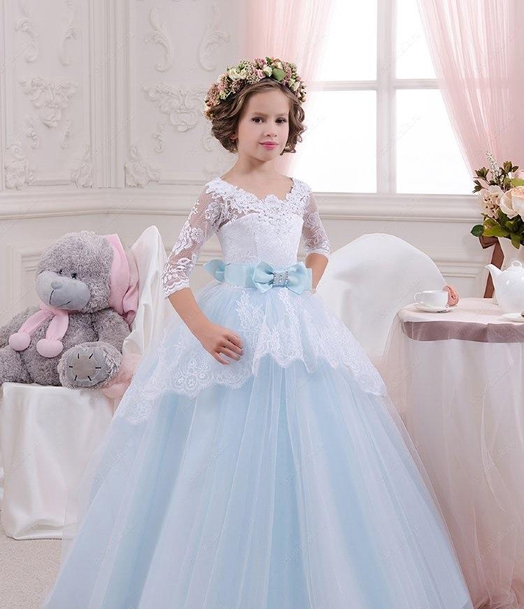 لباس عروس بچه گانه پف دار کمربند آبی