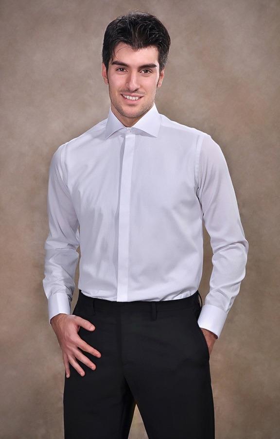 پیراهن یقه دیپلمات سفید رنگ
