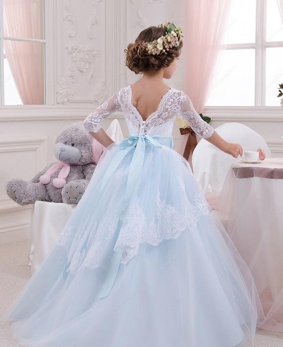 لباس عروس بچه گانه پف دار آبی