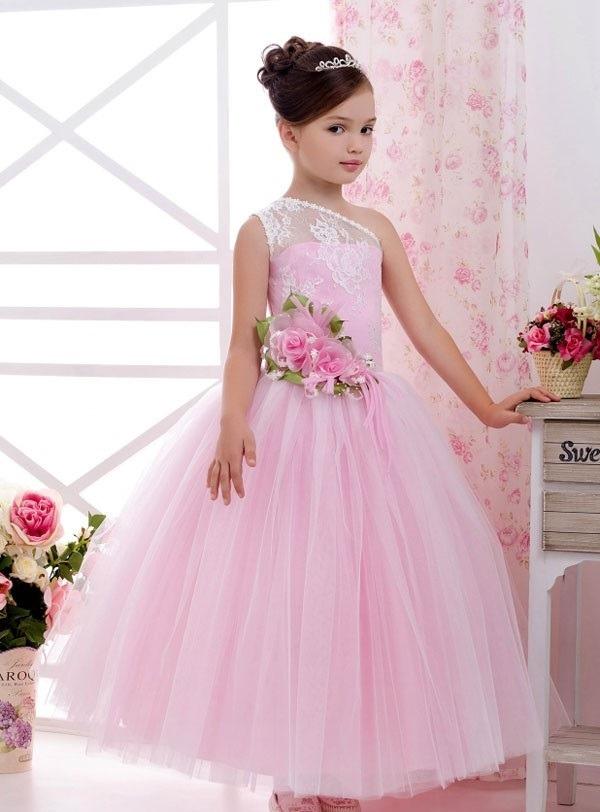لباس عروس بچه گانه پف دار گل صورتی