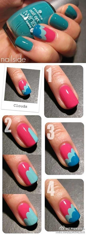 طراحی ناخن ابرهای رنگی