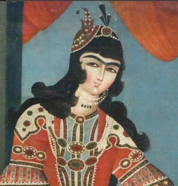 پرتره بانوی سنتور نواز عصر قاجار در موزه لوور