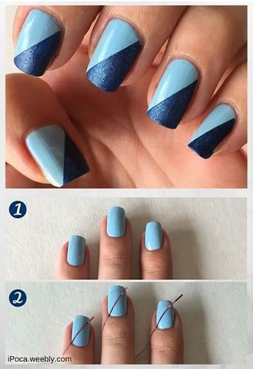 طراحی ناخن آبی با دو تناژ رنگی