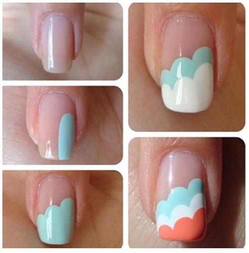 طراحی ناخن به شکل ابرهای سه تایی
