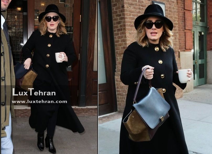 کت چرمی بلند مشکی رنگ و کیف دستی ادل