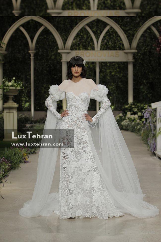 لباس عروس مدل پارچه گیپور آستین پف دار شنلی