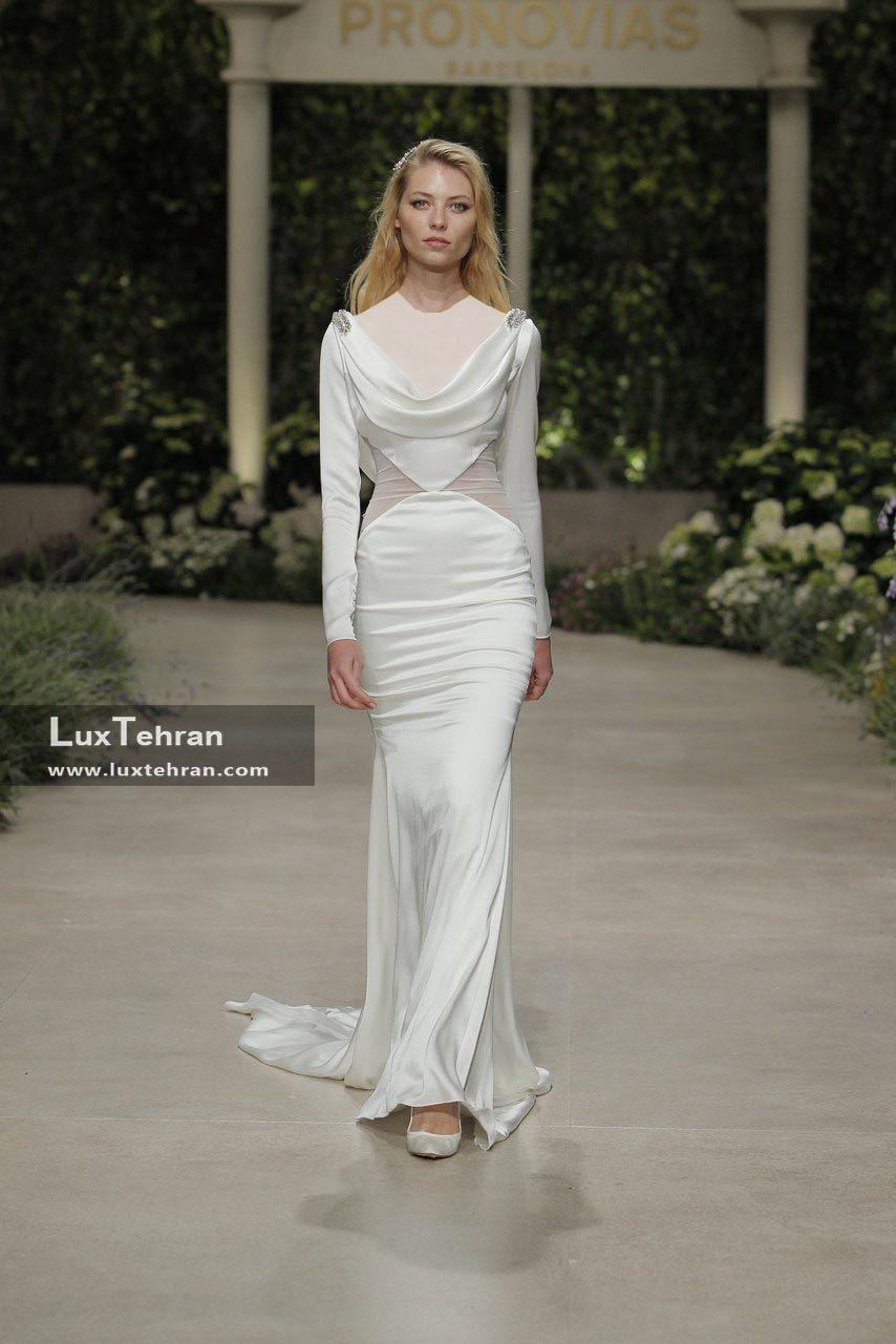مدل لباس عروس 2018 شاهد طرح چسبان آستین بلند