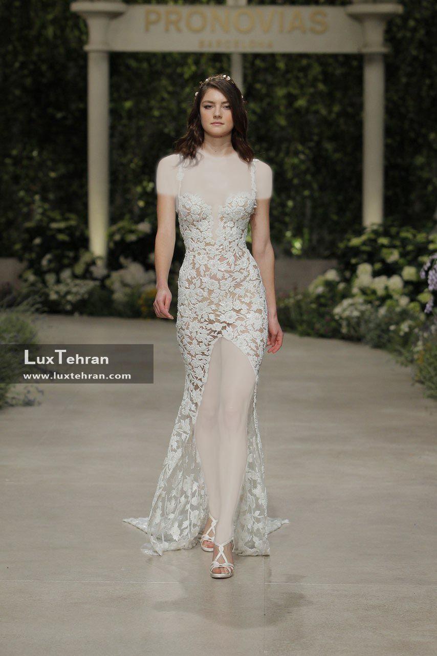 لباس عروس 2018 کار شده با پارچه گیپور کوتاه مدل چاک دار