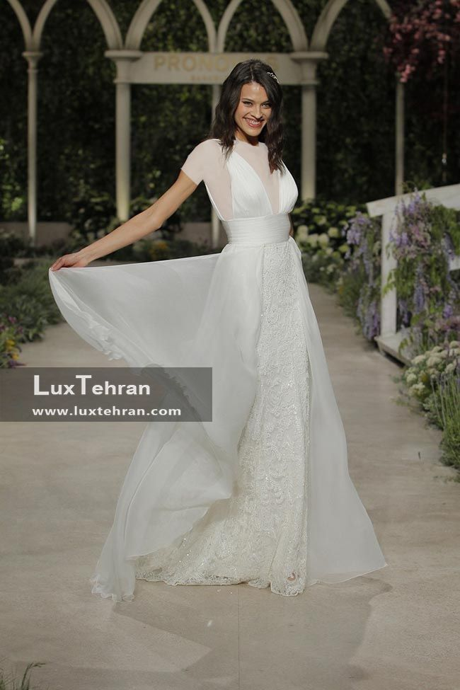 لباس عروس یقه V بدون آستین مدل سیلوئت