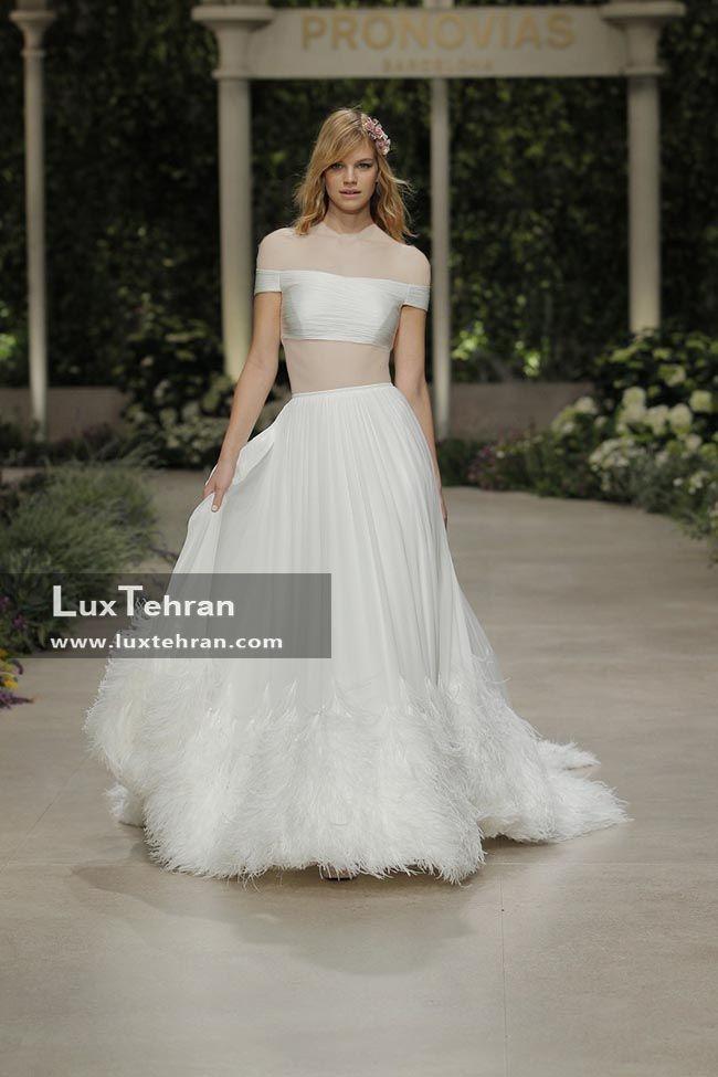 لباس عروس 2018 بدون آستین پرونوویاس و دو تیکه