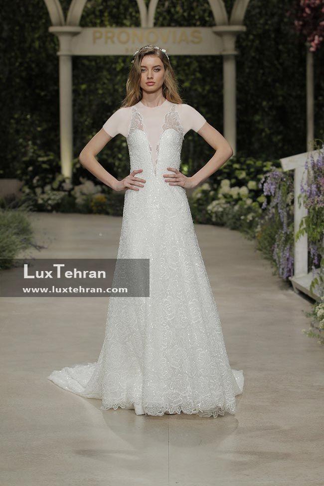 لباس عروس 2018 یقه V بدون آستین که دور کمر چسبان