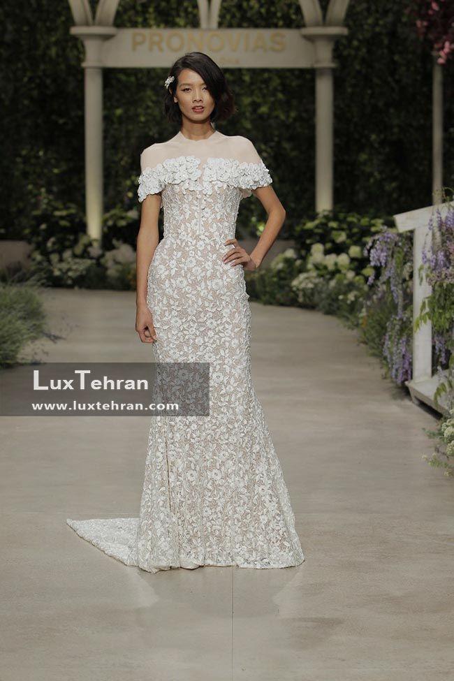 لباس عروس 2018 پارچه گیپور دار برند اسپانیایی