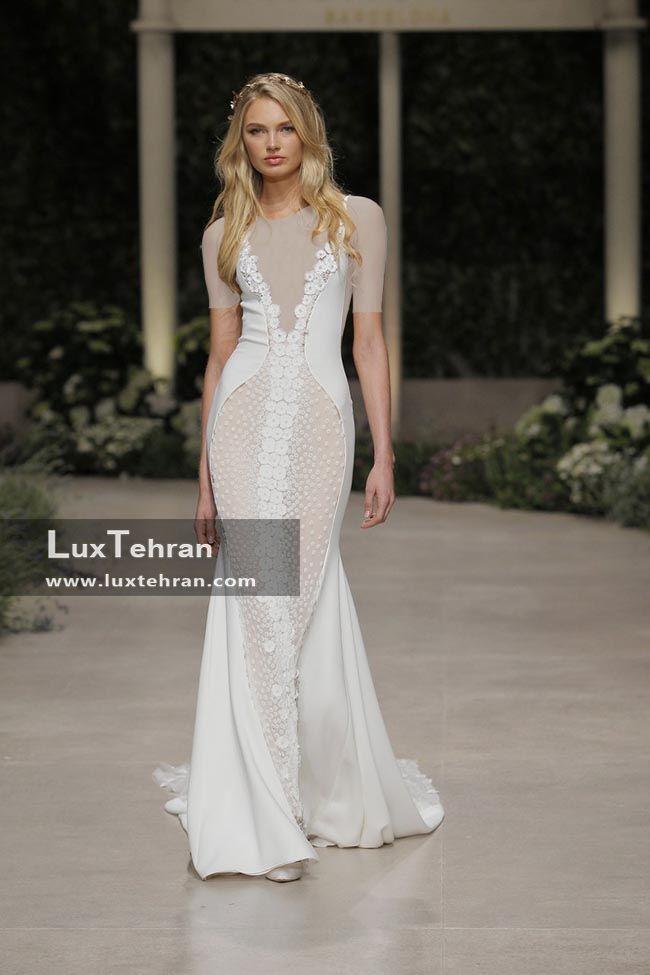 لباس عروس 2018 پرونوویاس که طرح یقه V و بدون آستین است