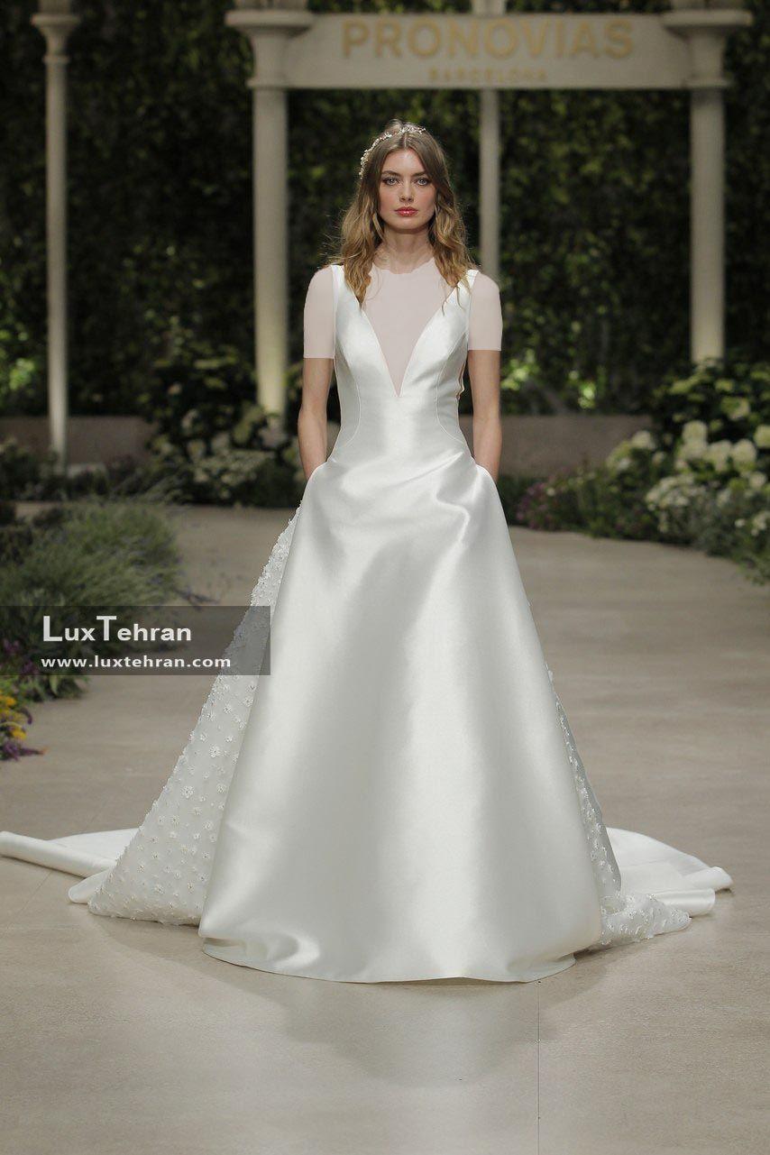 لباس عروس 2018 یقه V بدوسن آستین دامن پف دار