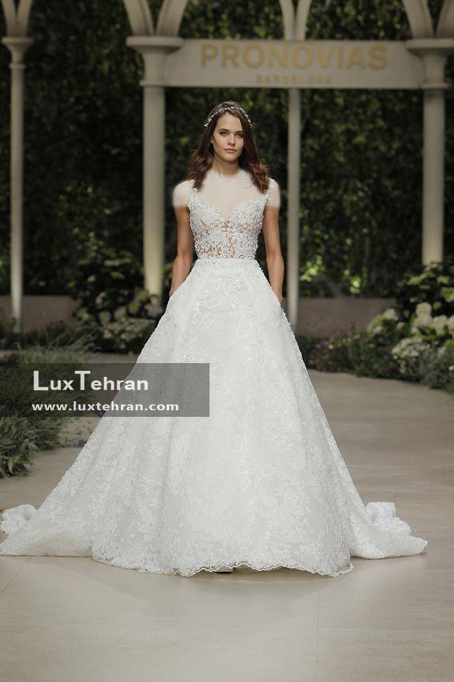 لباس عروس 2018 اسپانیایی یقه V