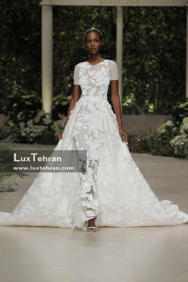 لباس عروس کار شده با پارچه گیپور