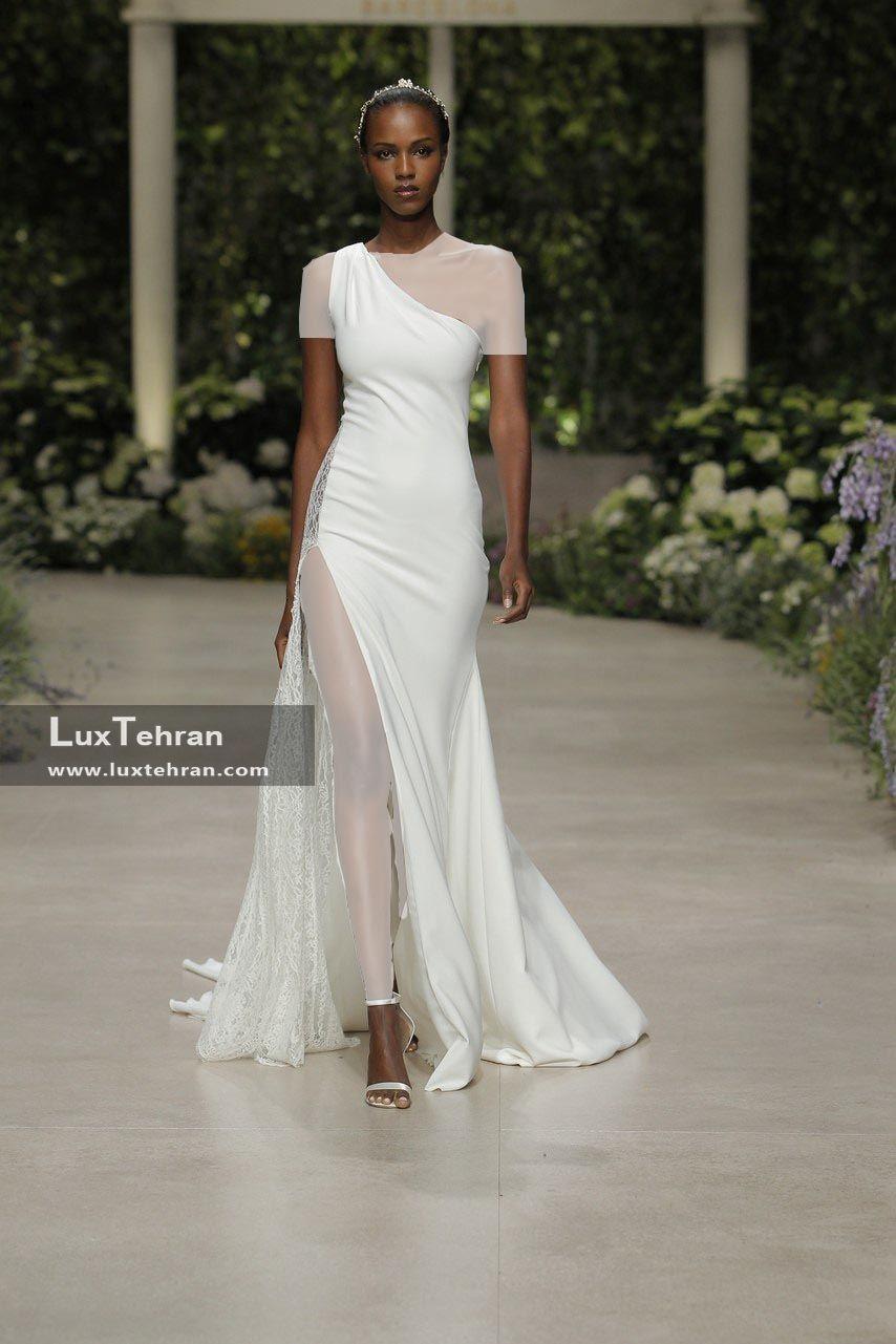 لباس عروس طرح تک شانه بدون آستین