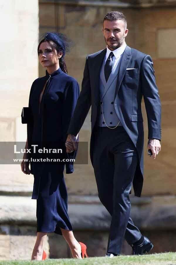 (لباس دیوید بکهام و ویکتوریا بکهام در مراسم عروسی مگان مارکل و هری)