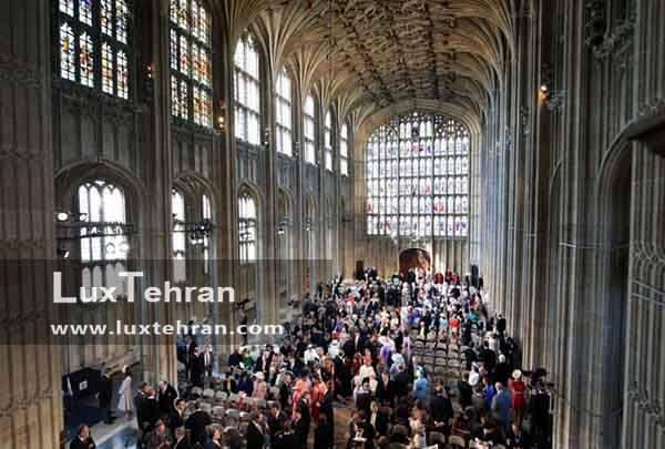 نمایی از کلیسا سنت جورج و ترکیب قرار گیری مهمانان د عروسی سلطنتی مگان مارکل و هری
