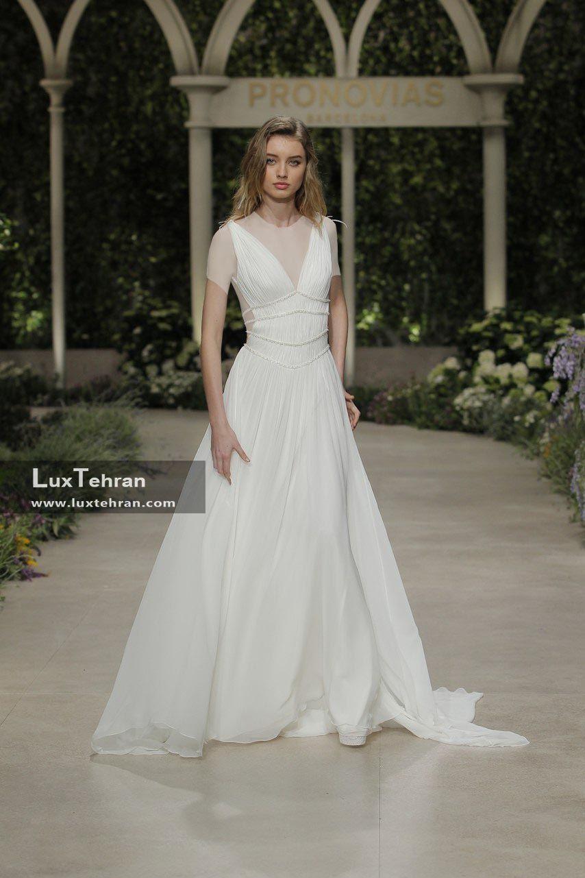 لباس عروس 2018 مدل یقه v بدون آستین دو بنده