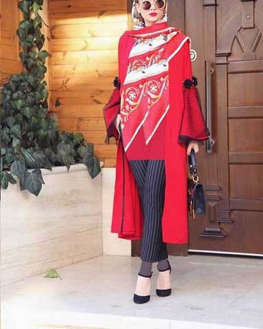 مدل دخترانه مانتو اسپرت جلو باز بلند مانتو قرمز رنگ